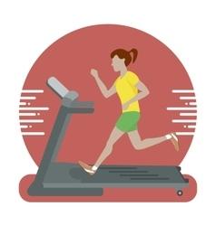 Woman running on treadmill vector