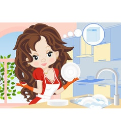 Woman wipes the dishes in the kitchen vector