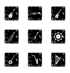 Musical instruments icons set grunge style vector
