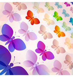 Colorful transparent butterflies summer pattern vector