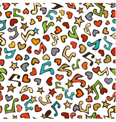 seamless love music pattern vector image