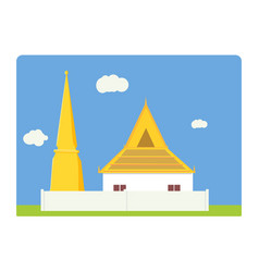 thai temple and pagoda flat simple design vector image