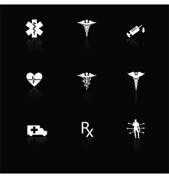 Medical icons white on black with reflections vector