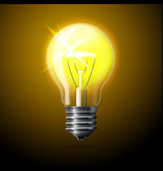 Realistic glowing light bulb on dark background vector