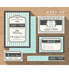 Wedding card invitation set design template vector