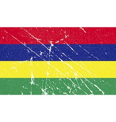 Flag of mauritius with old texture vector