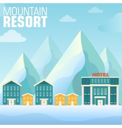 Flat resort mountain concept backgrounds vector