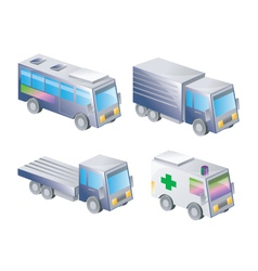 3d icons of land transportation vector