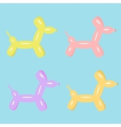 Dog balloon animal set of four flat design vector
