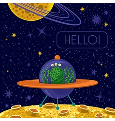 Friendly alien in spaceship stars on background vector