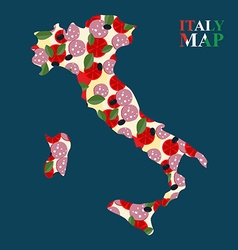 Map italy silhouette with ingredients for pizza vector