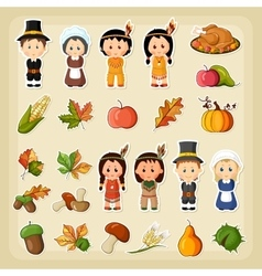 Thanksgiving harvest icon set vector