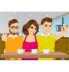 Young people taking a selfie at a coffee shop vector