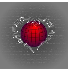 Music like heart around the world vector