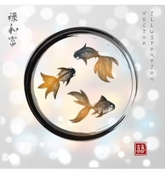 Three little goldfishes in black enso zen circle vector
