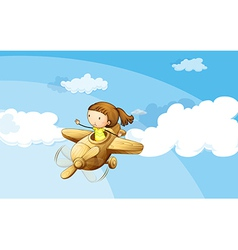 A wooden plane with a girl vector image vector image