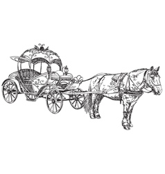 Beautiful carriage with horse vector