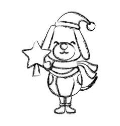 Christmas cute dog cartoon vector