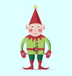 christmas elf standing vector image vector image