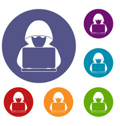 computer hacker with laptop icons set vector image vector image