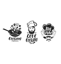 cooking cuisine logo label set for design menu vector image vector image