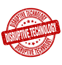 Disruptive technology red grunge stamp vector