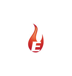 e letter flame logo vector image vector image