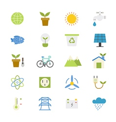 Environmental and Green Energy Flat Icons color vector image