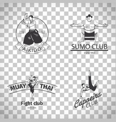 fight club logos on transparent background vector image vector image