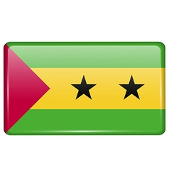 Flags sao tome principe in the form of a magnet on vector