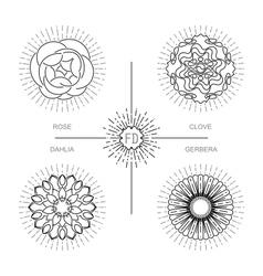 Flower bundle in minimalistic mono line style vector