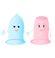 Funny characters female and male condoms world vector