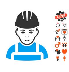 Happy mechanic icon with dating bonus vector