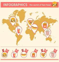 Infographic consumption of fast food around the vector