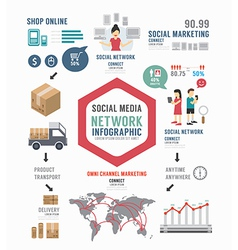 Infographic social business template design vector