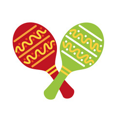maracas mexican music instrument celebration vector image