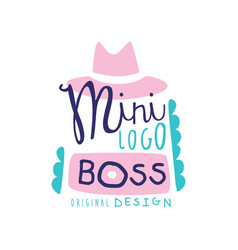 Mini boss logo creative design with broad-brimmed vector