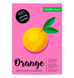 Modern healthy food poster with orange vector