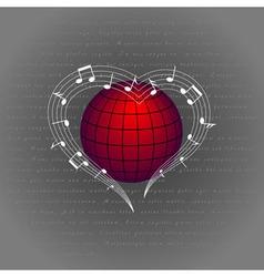 Music like heart around the world vector