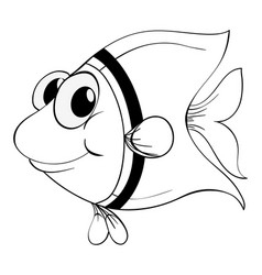 Outline animal for little fish vector