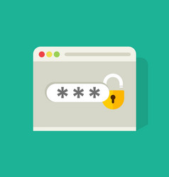 Password field with open lock in browser widow vector