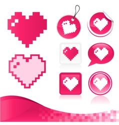 Pixel Heart Design Kit vector image vector image
