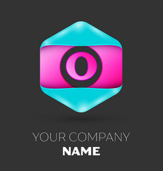 Realistic letter o logo in colorful hexagonal vector
