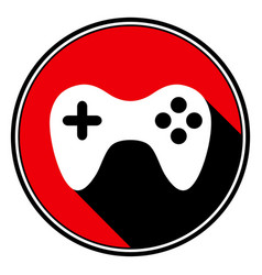 Red round with black shadow - white gamepad icon vector