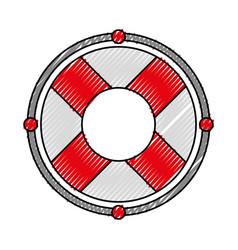 scribble red lifebuoy icon cartoon vector image