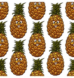Seamless background with pineapple character vector