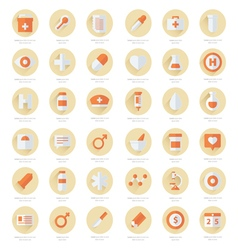 Set of flat medical icons 2 color styles vector