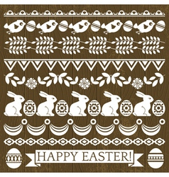 Set of Lace Paper with flower and easter eggs vector image vector image