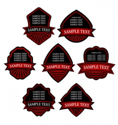 set of red striped labels vector image