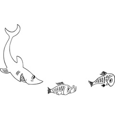 Shark pursues little fishes vector image vector image